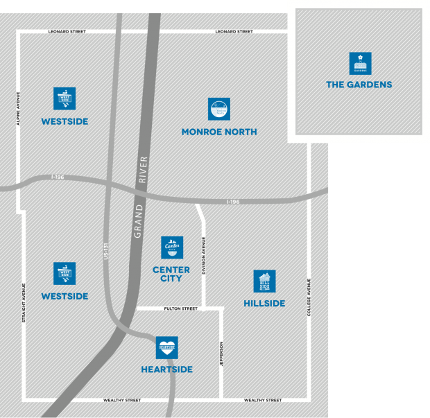 A map of the Neighborhoods within the ArtPrize District